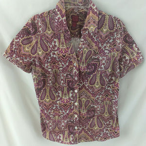 Womens 212 Collection SS Button Front Blouse